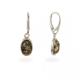 Green amber earrings | Sterling silver | Height - 35mm, Width - 10mm | Weight - 4g | ZD.1070G