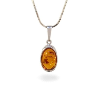 Amber pendant | Sterling silver | Height - 26mm, Width - 10mm | Weight - 1,5g | ZD.1070
