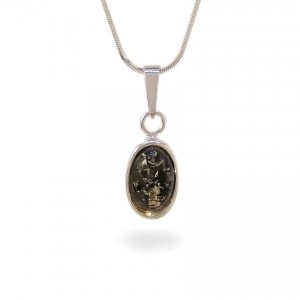 Green amber pendant | Sterling silver | Height - 26mm, Width - 10mm | Weight - 1,5g | ZD.1070