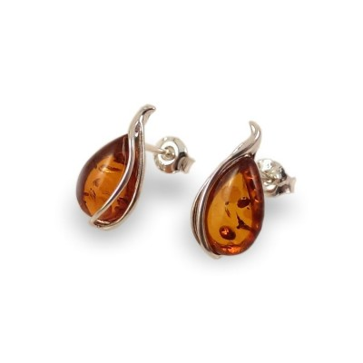 Silver Amber stud Earrings | Sterling silver | Height - 17mm, Width - 9mm | Weight - 1,7g | ZD.1088