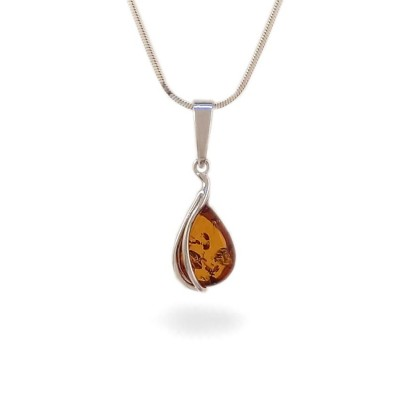 Amber pendant | Sterling silver | Height - 26mm, Width - 9mm | Weight - 1g | ZD.1088