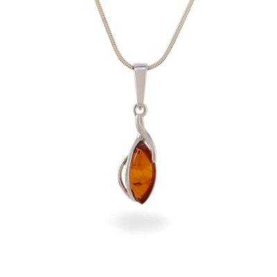 Amber pendant | Sterling silver | Height - 28mm, Width - 8mm | Weight - 1,1g | ZD.1092