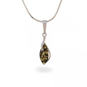 Green amber pendant | Sterling silver | Height - 28mm, Width - 8mm | Weight - 1,1g | ZD.1092G