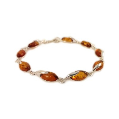 Amber bracelet | Sterling silver | Length - 187 to 190mm, Width - 6mm | Weight - 7.9g | ZD. 1093