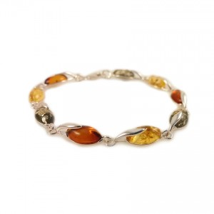 Amber bracelet | Sterling silver | Length - 187mm, Width - 6mm | Weight - 6g | ZD.1093M
