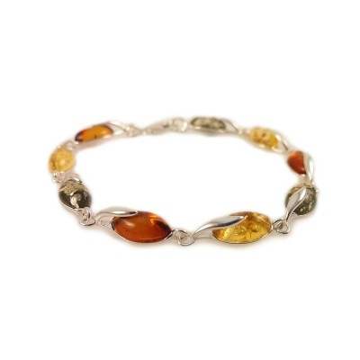 Amber bracelet | Sterling silver | Length - 187 to 190mm, Width - 6mm | Weight - 7.9g | ZD.1093M