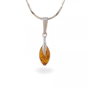 Amber pendant | Sterling silver | Height - 25mm, Width - 6mm | Weight - 0,9g | ZD.1093