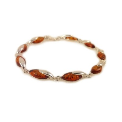 Amber bracelet | Sterling silver | Length - 195 to 198mm, Width - 6mm | Weight - 7.9g | ZD.1099