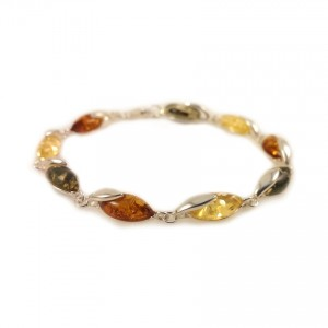 Amber bracelet | Sterling silver | Length - 195mm, Width - 6mm | Weight - 7.9g | ZD.1099M