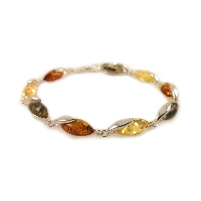 Amber bracelet | Sterling silver | Length - 195 to 198mm, Width - 6mm | Weight - 7.9g | ZD.1099M