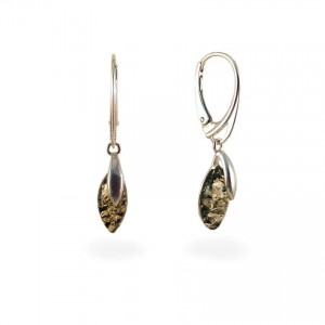 Green amber earrings | Sterling silver | Height - 35mm, Width - 6mm | Weight - 2,6g | ZD.1099G