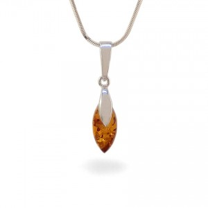 Amber pendant | Sterling silver | Height - 25mm, Width - 6mm | Weight - 1,1g | ZD.1099