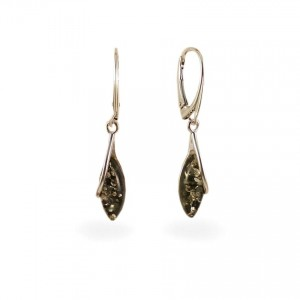 Green amber earrings | Sterling silver | Height - 39mm, Width - 7mm | Weight - 2,7g | ZD.1103G