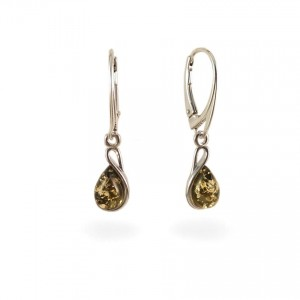 Green amber earrings | Sterling silver | Height - 31mm, Width - 7mm | Weight - 2,4g | ZD1113G