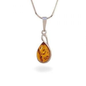 Amber pendant | Sterling silver | Height - 27mm, Width - 10mm | Weight - 1,7g | ZD.1113