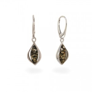 Green amber earrings | Sterling silver | Height - 37mm, Width - 11mm | Weight - 4g | ZD.1116G