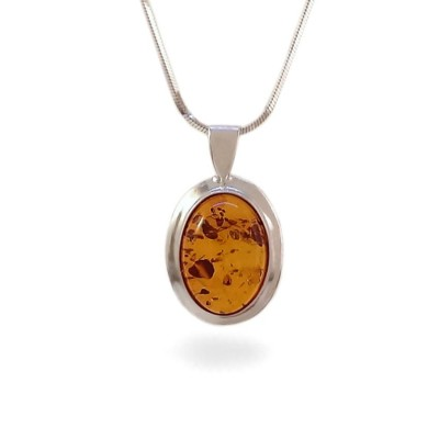 Amber pendant | Sterling silver | Height - 24mm, Width - 14mm | Weight - 1,7g | ZD.342