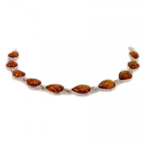 Amber bracelet | Sterling silver | Length - 187 to 190mm, Width - 9mm | Weight - 8,8g | ZD.680