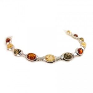 Amber bracelet | Sterling silver | Length - 193mm, Width - 9mm | Weight - 10,1g | ZD.320M