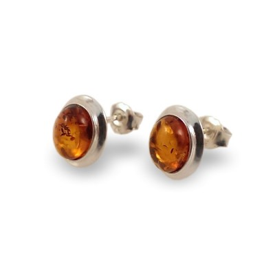 Silver Amber stud Earrings | Sterling silver | Height - 11mm, Width - 9mm | Weight - 1,8g | ZD.770