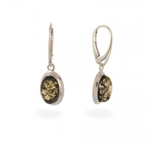 Green amber earrings | Sterling silver | Height - 33mm, Width - 11mm | Weight - 3,5g | ZD.829G