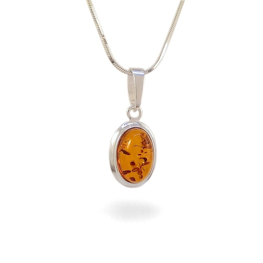 Amber pendant | Sterling silver | Height - 25mm, Width - 11mm | Weight - 1,5g | ZD.829
