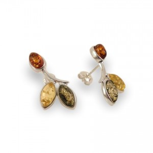 Green amber earrings | Sterling silver | Height - 24mm, Width - 12mm | Weight - 3,1g | ZD.839S