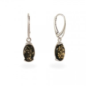 Green amber earrings   Sterling silver   Height - 33mm, Width - 8mm   Weight - 2,7g   ZD.978G