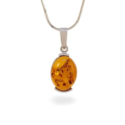 Amber pendant | Sterling silver | Height - 29mm, Width - 12mm | Weight - 2g | ZD.977