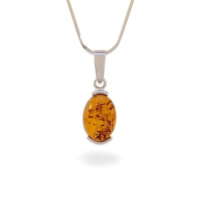 Amber pendant | Sterling silver | Height - 28mm, Width - 10mm | Weight - 1,7g | ZD.979