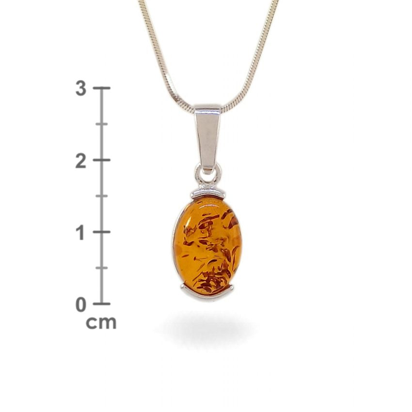Amber pendant   Sterling silver   Height - 28mm, Width - 10mm   Weight - 1,7g   ZD.979