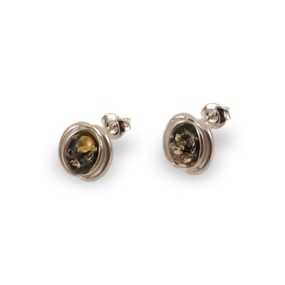 Green amber earrings | Sterling silver | Height - 14mm, Width - 10mm | Weight - 2,1g | ZD.995G