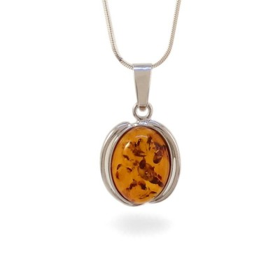 Amber pendant | Sterling silver | Height - 29mm, Width - 17mm | Weight - 2g | ZD.997