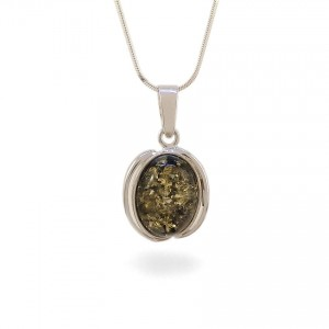 Green amber pendant | Sterling silver | Height - 29mm, Width - 17mm | Weight - 2g | ZD.997G