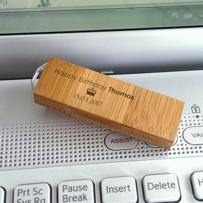 ECO Bamboo usb | Bamboo 16~128GB USB 3.0 | silver-plated pendant