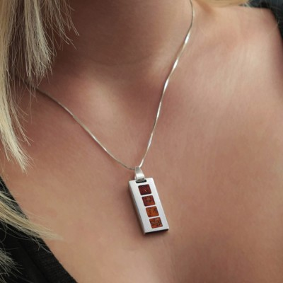 USB necklace | Honey 16GB USB 2.0 | Sterling silver | Baltic Amber | 925 silver chain 45cm