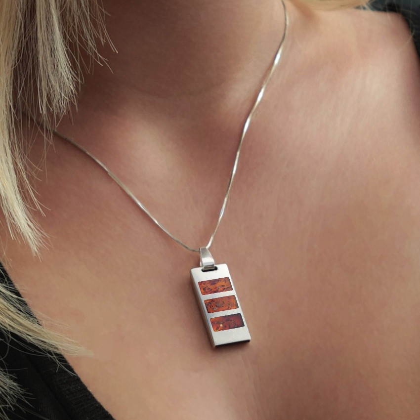 USB necklace | Cherry 8~64GB USB 2.0 | Sterling silver | Baltic Amber | 925 silver chain 45cm