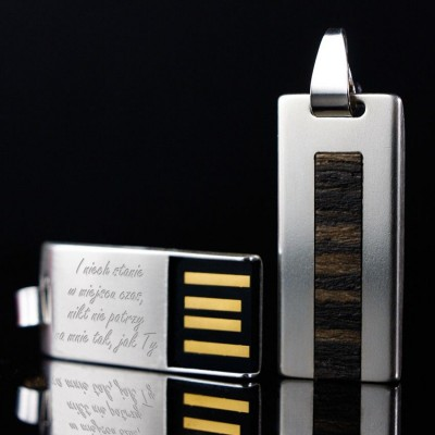Silver custom USB | Teak 64GB USB 2.0 | Sterling Silver | Teak wood