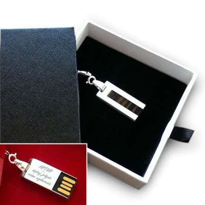 Silver custom USB | Teak 8GB USB 2.0 | Sterling Silver | Teak wood