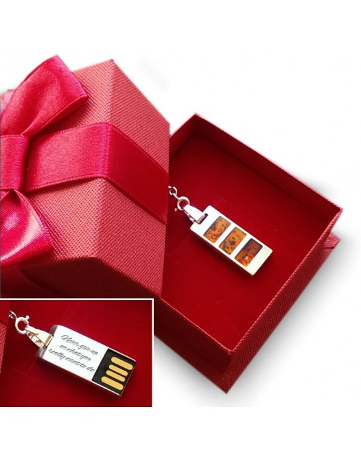 USB necklace | Cherry 32GB USB 2.0 | Sterling silver | Baltic Amber | 925 silver chain 45cm
