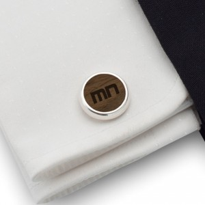 Initials cufflinks | Sterling silver | American Walnut | Available in 10 fonts | ZD.53