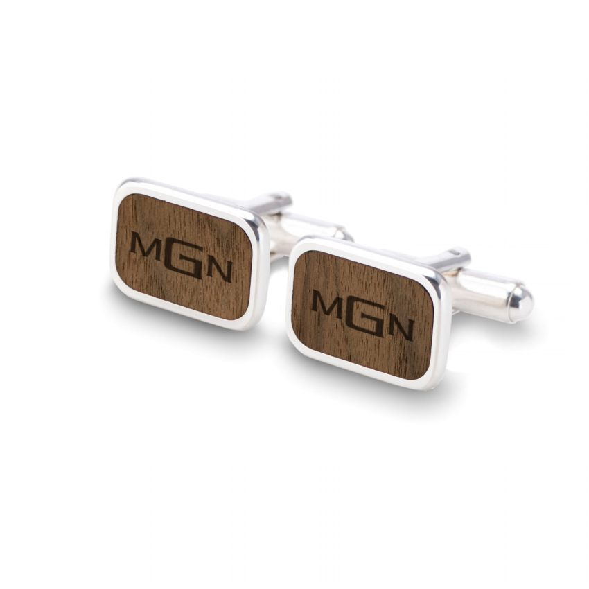 Monogram wooden cufflinks | Sterling silver | American Walnut | Available in 10 fonts | ZD.63