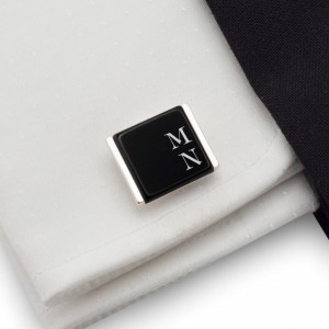 Initials cufflinks on Onyx stone | Sterling sillver | Available in 10 fonts | ZD.74