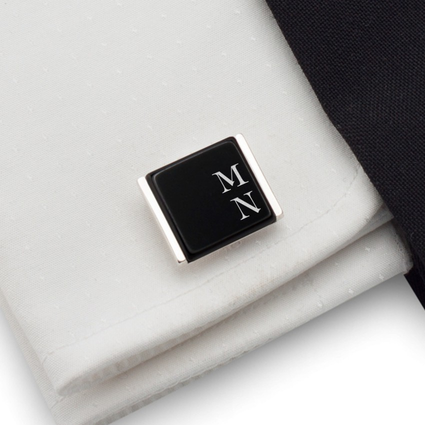 Cufflinks with engraved Initials on onyx gemstone | Sterling silver | Available in 10 fonts | ZD.74