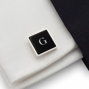 Initials cufflinks on Onyx stone | Sterling sillver | Available in 10 fonts | ZD.68