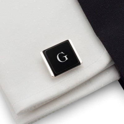 Initials cufflinks on Onyx stone | Sterling sillver | Available in 10 fonts | ZD.76