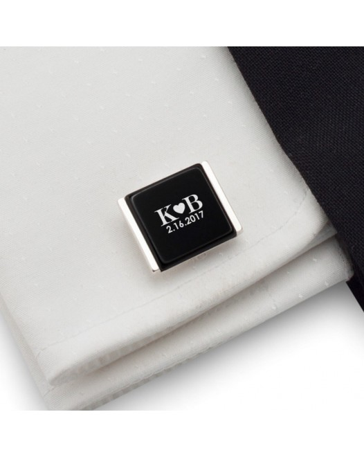 Custom cufflinks | Gift idea for Men | Sterling silver | Onyx | ZD.82