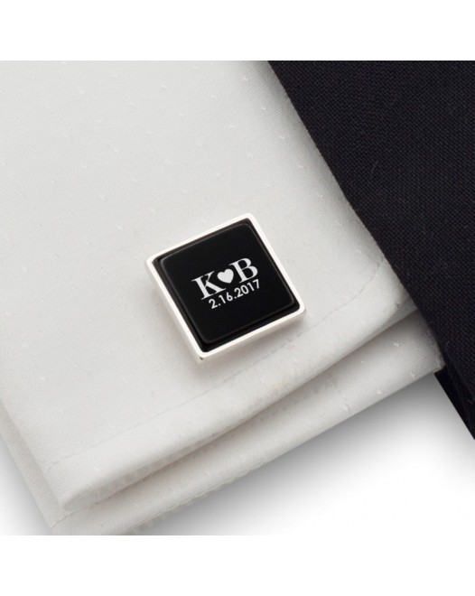 Custom cufflinks | Gift idea for Men | Sterling silver | Onyx | ZD.73