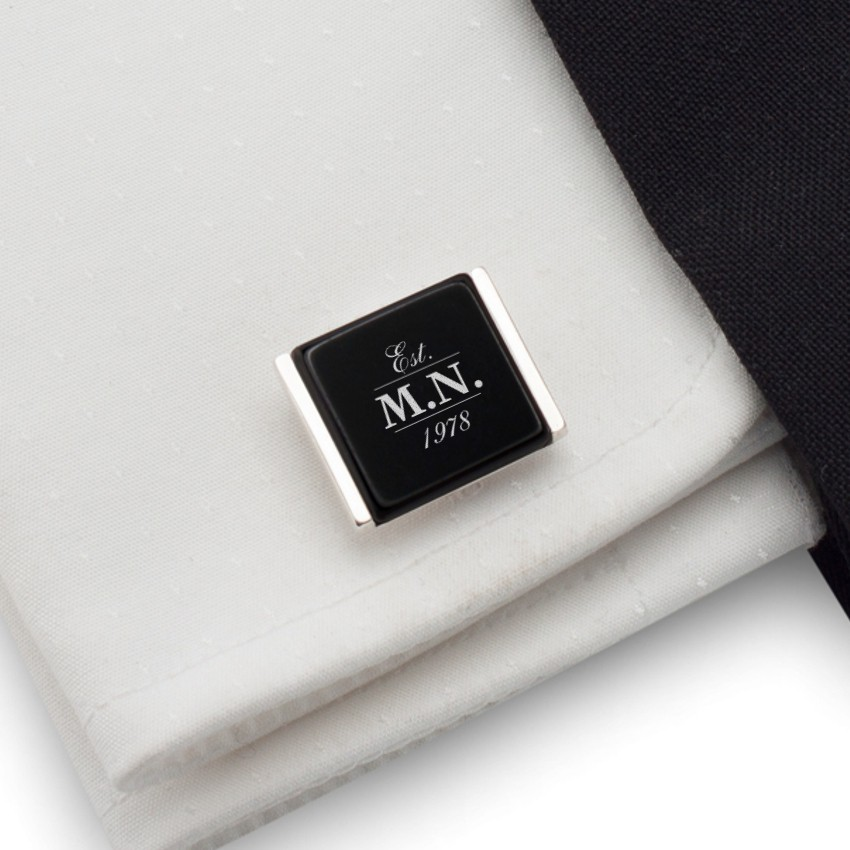 Your or birthday initials cufflinks | Sterling sillver | initials on Onyx stone | ZD.77