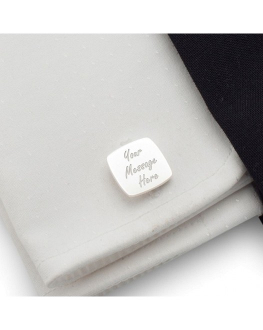 Personalized cufflinks | With Your dedication | Sterling silver | Available in 10 fonts | ZD.39